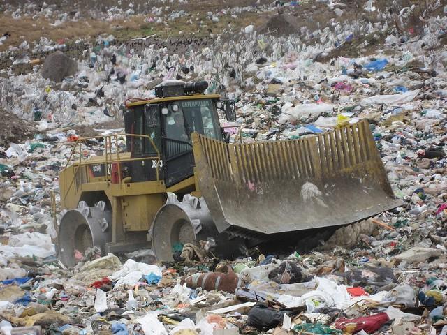 Heavy machinery at the Robin Hood Bay landfill
